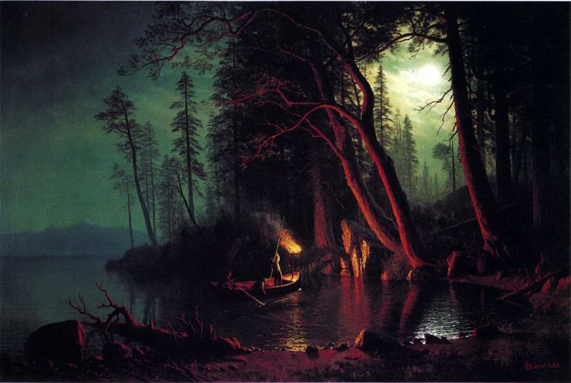 Lake Tahoe Spear Fish By TorchLight by Albert Bierstadt